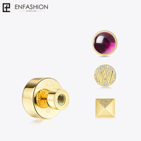 Enfashion Play Series Screw Brooch Pin Gold color Stainless Steel Pins Letter Charm Brooches for women DIY Jewelry 188006