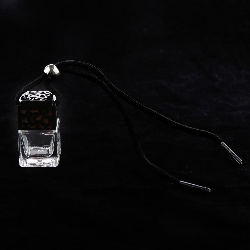 1 Pc Portable Empty Refillable Glass Square Shape Perfume Bottle Car Vehicle Home Decorative Ornament Pendant