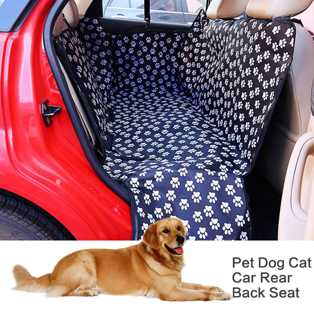 Pet-Carriers Protector Hammock Cushion Car-Back-Seat Oxford-Fabric Dog Waterproof Paw-Pattern