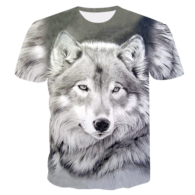2019 New Summer Brand 3D Wolf Head T-shirt Man Round Collar Short Sleeve T-shirt Men Fashion T Shirt Short Sleeves Dropshipping