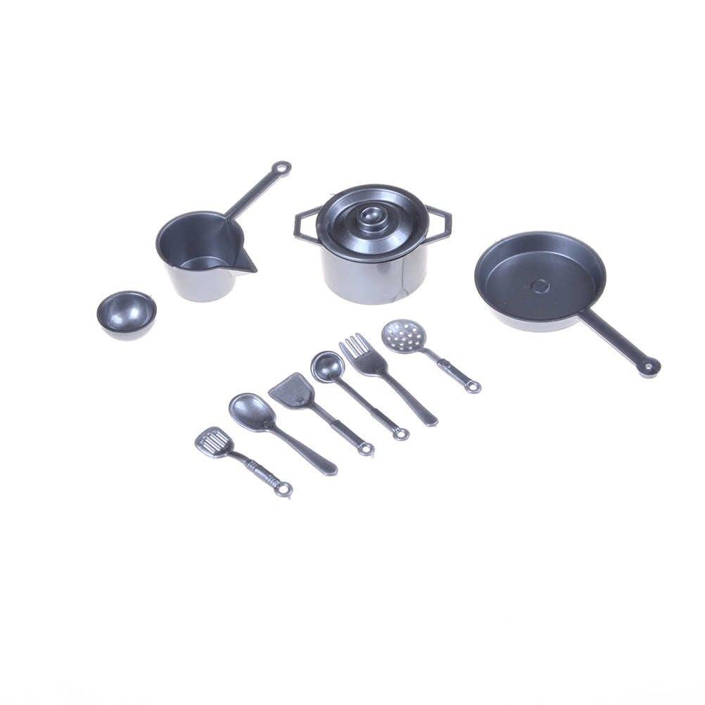 10 sztuk/partia Mini zastawa stołowa 1:12 Dollhouse miniaturowe rysunek widelec Pot zestaw kuchenny akcesoria do zabawek żywności lalki udawaj zabawki