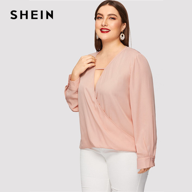 SHEIN Sexy Deep V Neck Surplice Wrap Plus Size Women Sweet Pink Blouses Spring Summer Thin Long Sleeve Solid Top Blouse 2