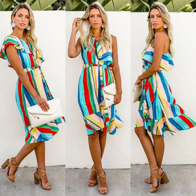 2018 New Colorful Stripe Dress Women Summer Boho Off Shoulder Ruffle Maxi Dress  Evening Party Beach Dress Holiday Beach Sundress 623edc5fd2f5
