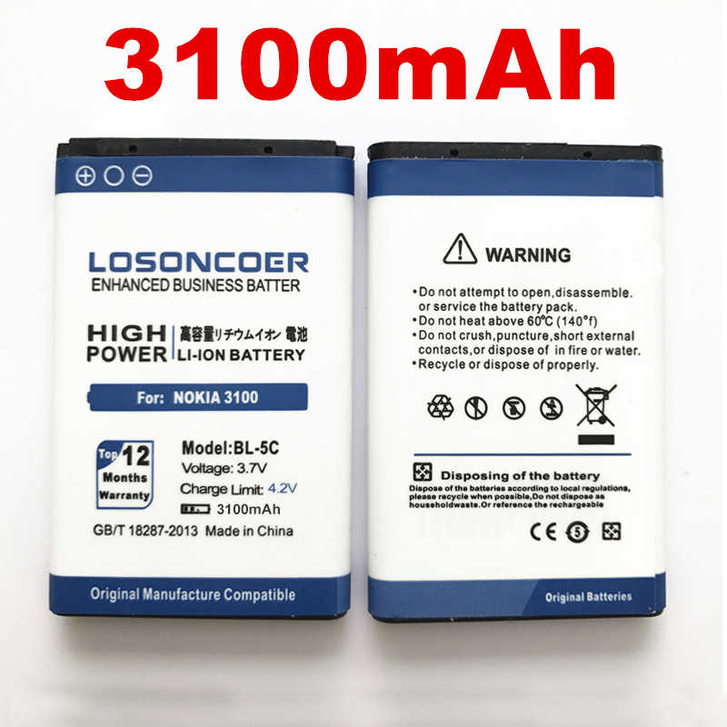 100% Original LOSONCOER 3100mAh BL-5C Battery for Nokia1100 6600 6230 C2-06 X2-01 6230i 1108 1112 1116 1200 1208 1209 N70 N71
