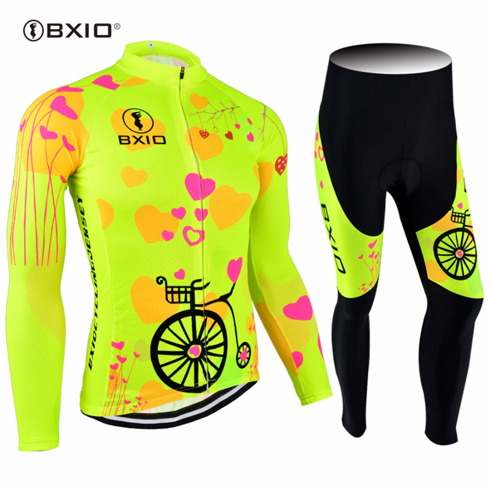 все цены на 2017 New Arrival BXIO Custom Cycling Set Mujer Ropa Ciclismo Pro Team Bike Clothes Fluo Yellow Bicycle Clothing Sprot Jersey 125 онлайн
