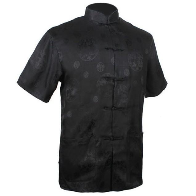 New Fashion Black Men's Satin Shirt Top Chinese Classic Kung Fu Clothing Short-Sleeve Vintage Tang Suit S M L XL XXL XXXL MS010