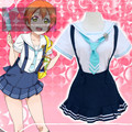 Hot love live Hoshizora Rin cosplay costume Lovely cos navy girls clothing summer anime student dress
