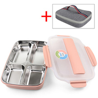 With Thermos Bag Microwave Lunch Box 304 Stainless Steel Student Portable Bento Box Kids Outdoor Travel Leakproof Food Container