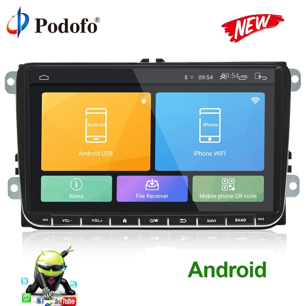 Podofo Android lettore Multimediale di Navigazione GPS Per Auto 2 Din radio stereo Per Volkswagen VW Golf Polo Passat Jetta Tiguan SEDE leon