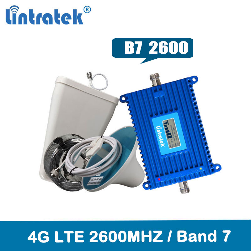 Lintratek 4G Repeater 2600MHz 70dB AGC Mobile Signal Booster Band 7 LTE 2600MHz Cell Phone Repeater Amplifier KW20L-LTE-26