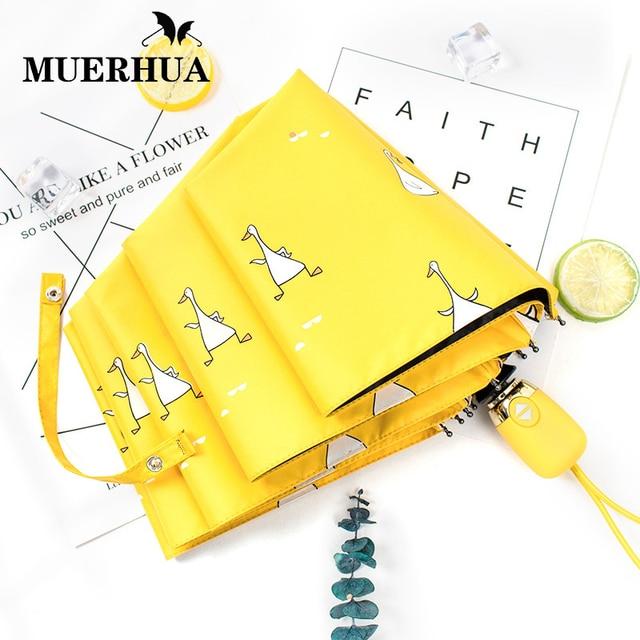 MUERHUA автоматический Для женщин зонтик для защиты от ветра Водонепроницаемый три складной Алюминий зонты, дождь женские Для мужчин зонтик детей зонтик