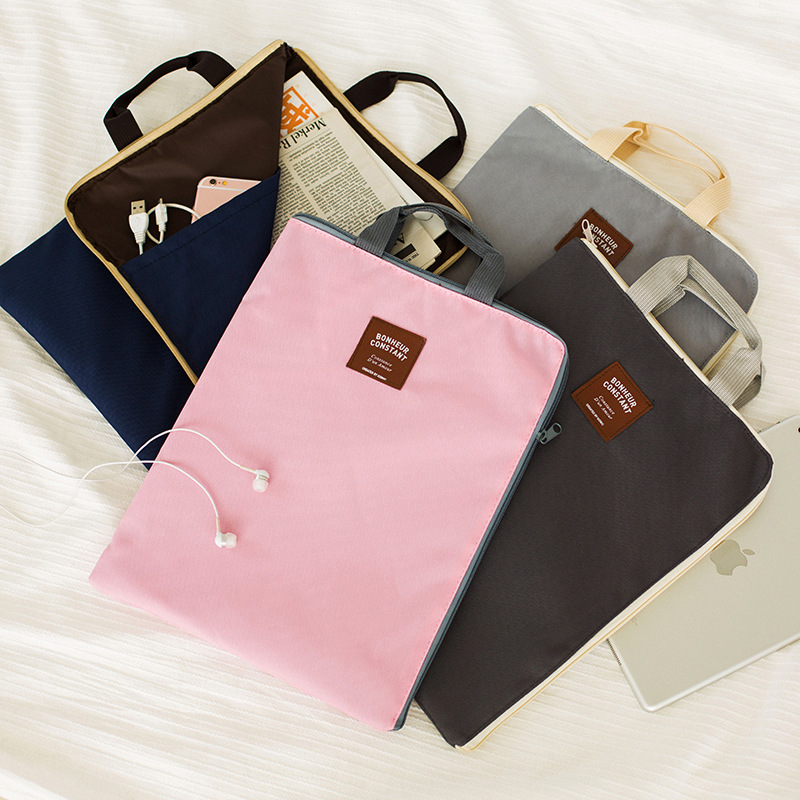 Korean Simple Solid A4 Big Capacity Document Bag Business Briefcase Storage File Folder For Papers Stationery Student Gift