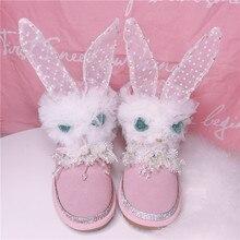 hot deal buy handmade top quality women's genuine leather snow boots rhinestone cute rabbit snow boots warm plush winter boots women boots