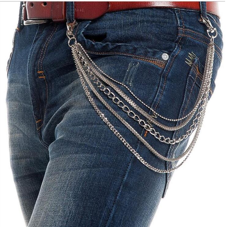 22New fashion Hip Hop Men Silver Metal Short Wallet Jeans Chains 5 Layers Trousers KeyChain Biker 5 Strands Jeans Waist Chain