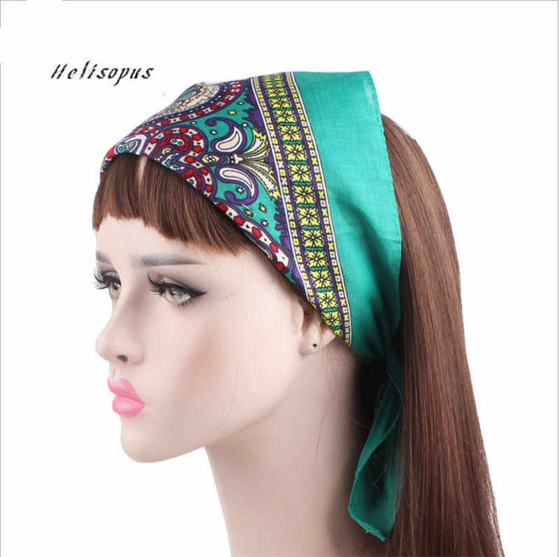 Helisopus 2019 New Cotton Headbands Women Hair Accessories Outdoor  Headscarf Floral Printed Hair Band Female Square 2671dc896c86