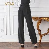 VOA классический матовый черный Высокая талия плюс Размеры шелковые брюки Для женщин женские офисные одноцветное прямые брюки Dames Broeken плавк