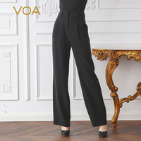 VOA 2018 Spring Summer New Classic Solid Black High Waist Plus Size Women Trouser Heavy Silk Brief Office Lady Basic Pants K2760