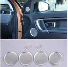 For Land Rover Discovery Sport 2015-2017 Car-Styling Aluminum alloy Interior Door Speaker Cover Trim Audio Speakers hangup aluminum car door audio speaker net decoration cover trim stickers for chevrolet camaro 2017 up car styling