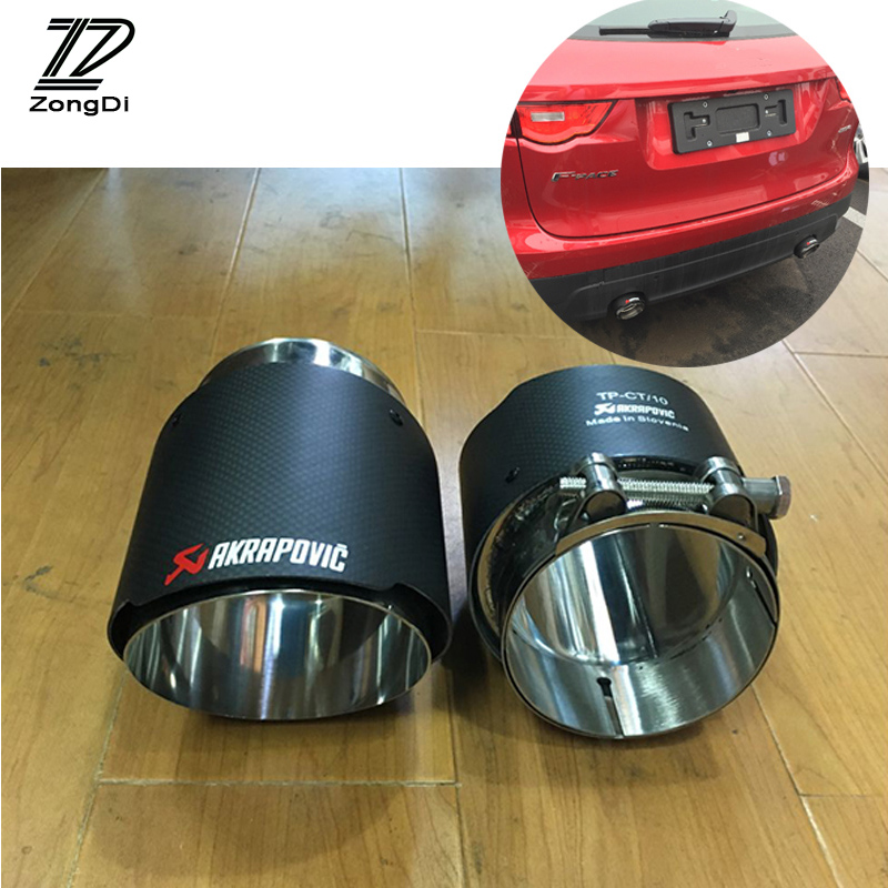 2pcs Carbon Fiber Akrapovic Car Exhaust End Tips Muffler Pipe Covers For Jaguar XF F-PACE XE X240 Accessories 2.0T 3.0T TSI akrapovic exhaust tip golf gti