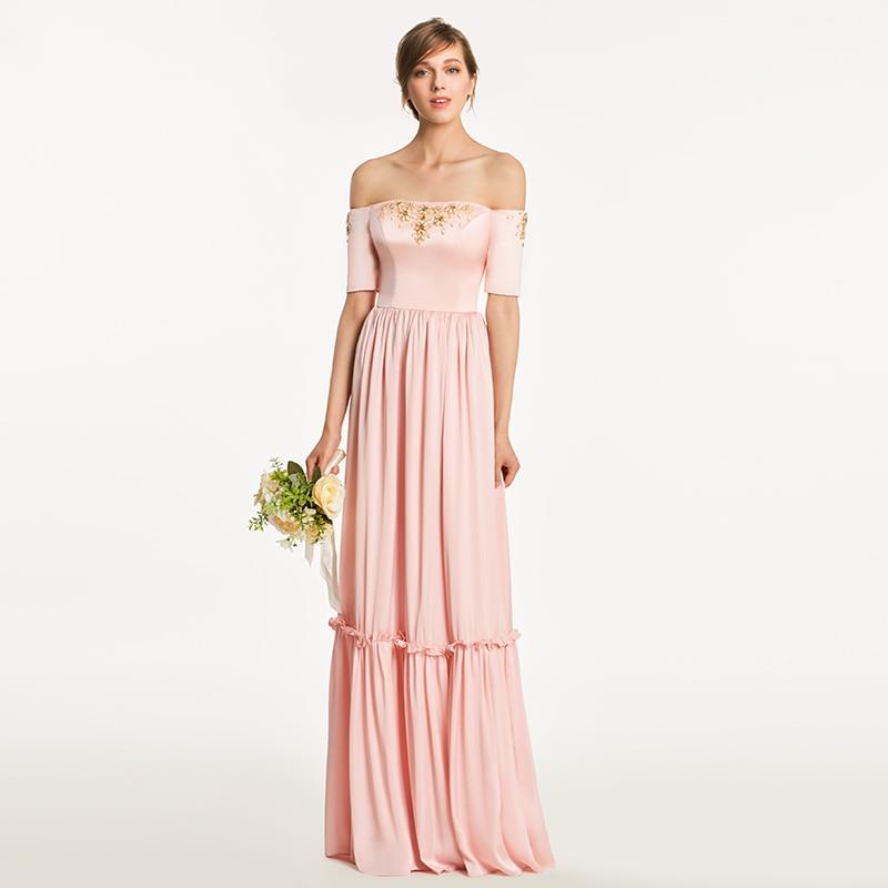 Tanpell Long Off The Shoulder A Line Bridesmaid Dresses Elegant Pink Short Sleeves Beading Wedding Party Bridesmaid Dress Custom