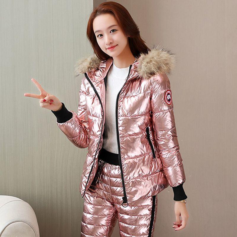 Chaud femmes nouveau hiver court cheveux collier plume coton pantalon tempérament slim coton pantalon deux pièces costume