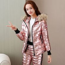 Warm women s new winter short hair collar feather cotton pants temperament slim cotton trousers two