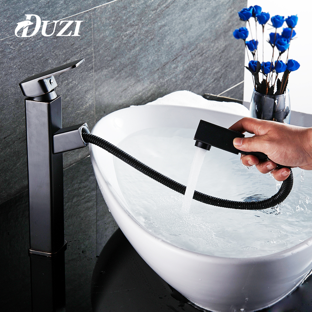 DUZI Pull Out Basin Faucets Brass Tall Bathroom Faucet Mixer Tap Single Handle Hot & Cold Washbasin Taps Oil Rubbed Bronze Crane new arrival matte black or oil rubbed bronze or chrome tap basin cold and hot fashion square single hole bathroom faucet