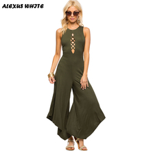 Sexy Backless Jumpsuit Women 2016 Autumn Sleeveless Hollow Playsuit Bodycon Clubwear Romper Trousers
