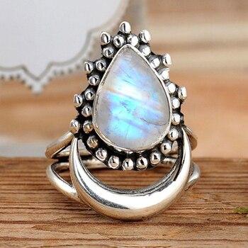 Vintage luna creciente imitación piedra lunar anillo bohemio lágrima declaración piedra anillo para mujer joyería de moda regalo