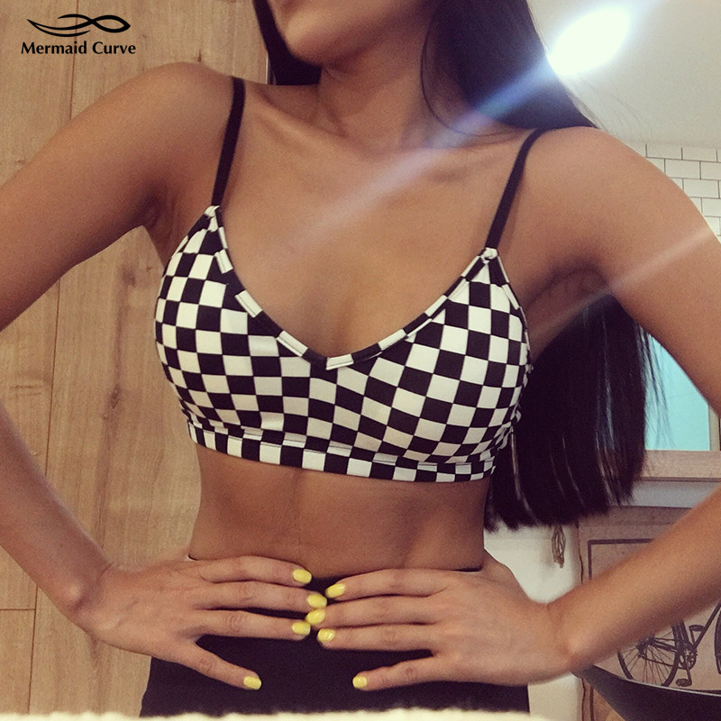 Sports Underwear Black white square lattices Mosaic yoga Bra Top with pads women push up Sexy shoulder strap Thin Fitness bras image