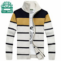 Nian AFS JEEP 2015 Winter Thick Cardigan Cotton Sweater,Striped Loose Cargo Knitted Outwear 100% Cotton Winter casual Underwear