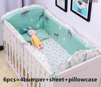 Promotion! 6PCS elk Cartoon Kids bedding sets baby crib bedclothes baby bedding baby crib sheets (4bumpers+sheet+pillow cover)