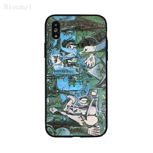 Bioumei luncheon on the grass black Soft TPU Case for iphone XR XS Max iphone 6 6S 7 8 Plus 5 Back Cover Case for X 11 mackenzie childs tulip check napkins luncheon 6 5 sq folded 20 per pack