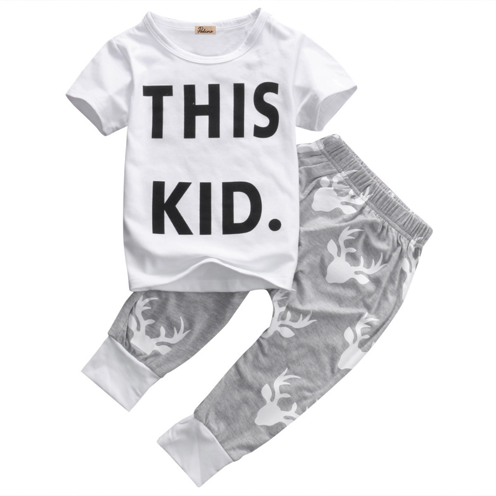 Letter White T-shirt Tops Short Sleeve Pants Outfits Boys Clothing Set 2pcs Infant Toddler Kids Baby Boy Clothes Set 0-5T