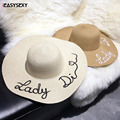iEASYSEXY Brand 2017 Korean Style Summer Sunscreen Sunshade Straw Cap Fashion Women Adult Casual Letter Embroidery Beach Hat