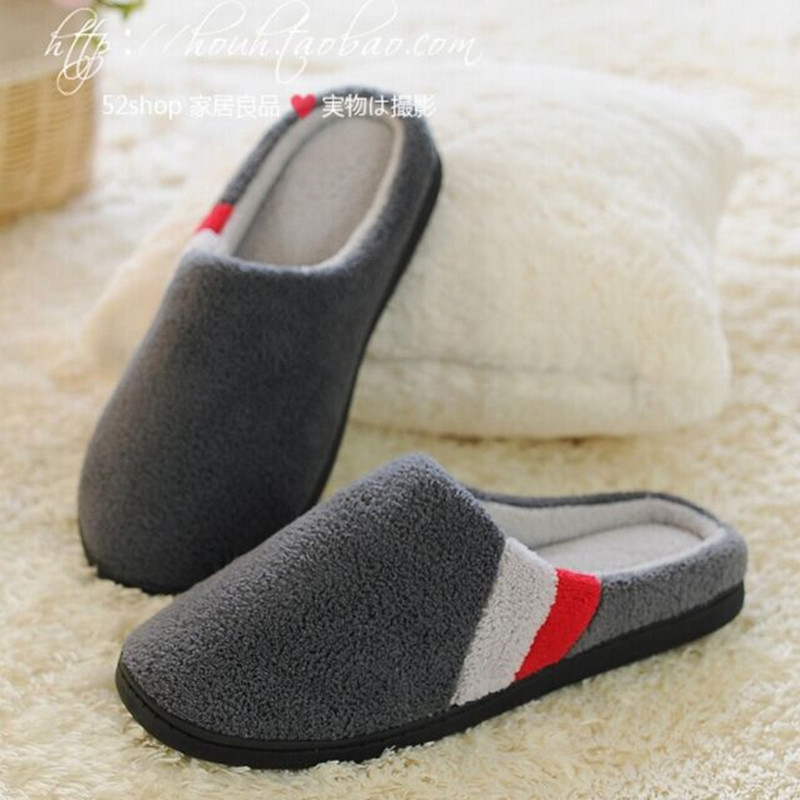 Winter New Men s Cotton Slippers Quality Coral Velvet Warm Indoor Shoes Non slip Soft Bottom
