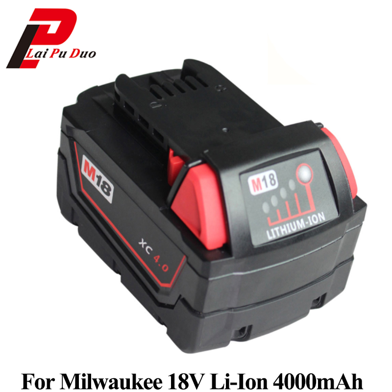 18v 4000mAh Li-Ion Battery Replacement power tool battery for MILWAUKEE: M18 48-11-1828 49- 24-0171 - M18 48-11-1840 power tool accessory lithium ion battery charger 14 4v 18v for milwaukee c18c c1418c 48 11 1815 1828 1840 m18 m14 serise parts