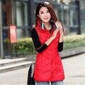 Зимние куртки высокое качество красный длинный жилет женщины жилеты толстая рукавов леди куртки осеннее пальто женский L-3XL Q232