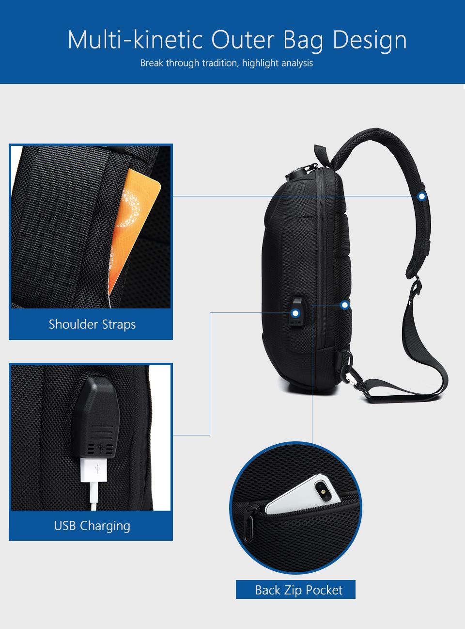 OZUKO 2019 New Multifunction Crossbody Bag for Men Anti-theft Shoulder Messenger Bags Male Waterproof Short Trip Chest Bag Pack 6