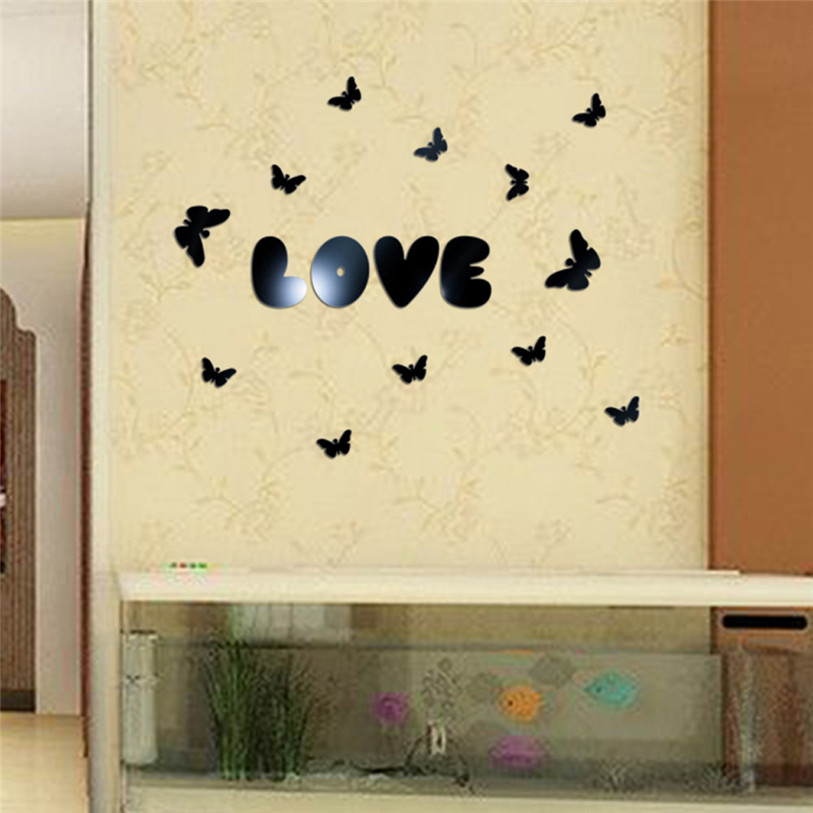Fashion Butterflies 3D Mirror Wall Stickers 16 pcs/set Home TV ...