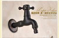 2016 Wall Mounted Oil Rubbed Bronze Black Finish Washing Machine Taps Single Handle Bibcocks Cold Water