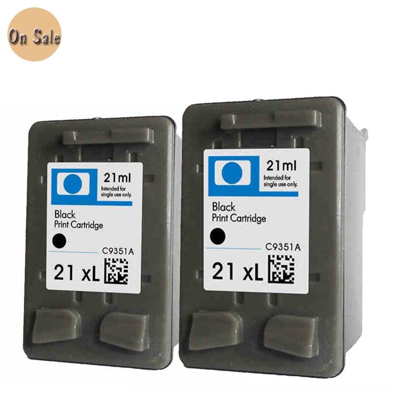 Hisaint 2pcs For Hp 21xl C9351A Black Ink Cartridge For HP21 1402 1406 1408 1410 Dsekjet D1360 D1460  D2360 D2460 Printer Free