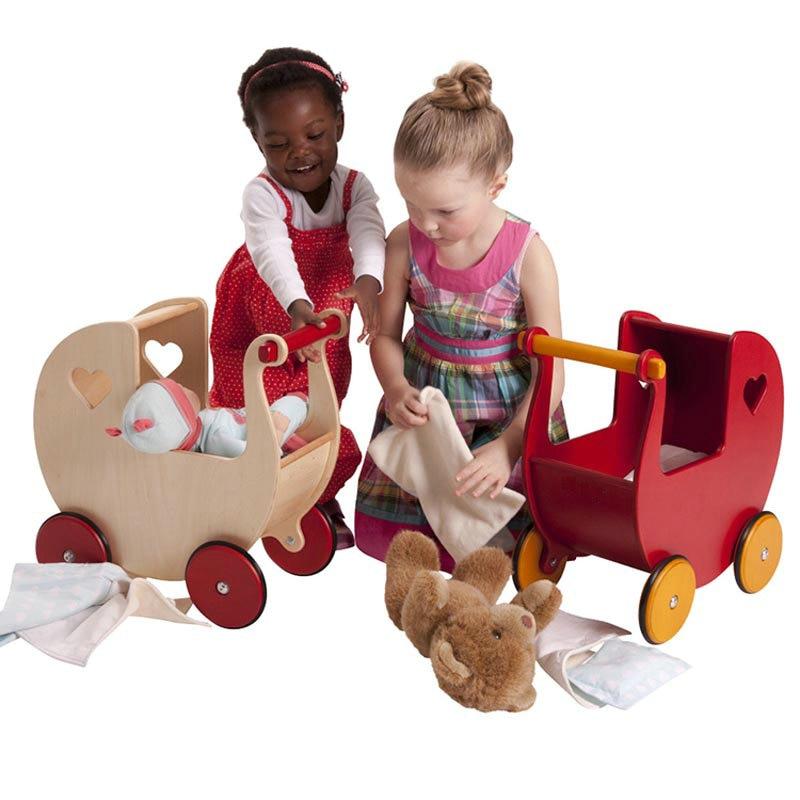 Wooden Toddle Walker Dolls Pram Safer Wooden Baby walker