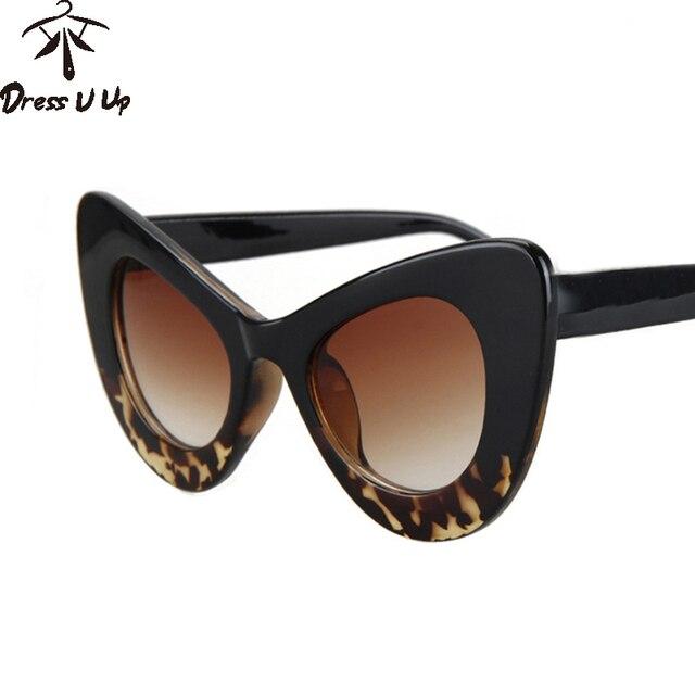 b907e4ecd89ca DRESSUUP Nouvelle Mode Cat Eye lunettes de Soleil Femmes Marque Designer  Vintage Grand Cadre Papillon Lunettes