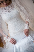 Vestidos De Noiva 2014 New Sexy A Line lace Appliques Wedding Dresses Long Sleeves Bridal Gown For Wedding&Events MF491