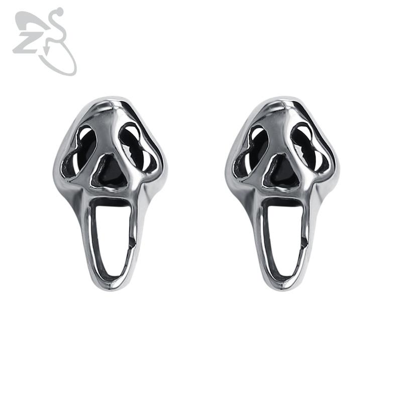 ZS Scream Mask Movie Stud Earrings Punk Rock Style Jewelry for Men Stainless Steel Earrings with Black Stone Mens Biker Earrings
