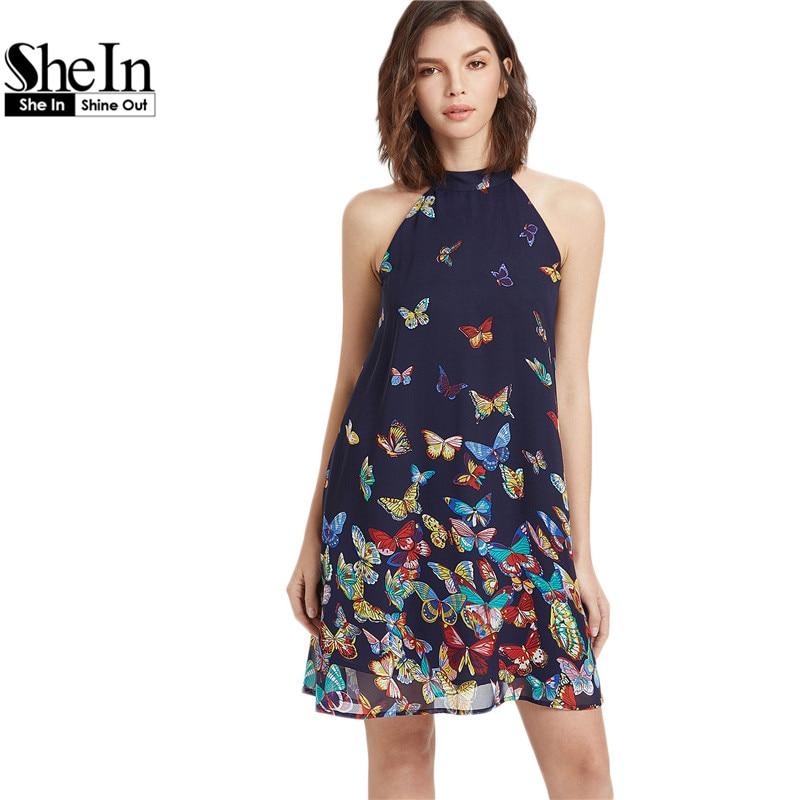 Shein summer dress 2017 ropa para mujer boho dress navy para mujer de la maripos