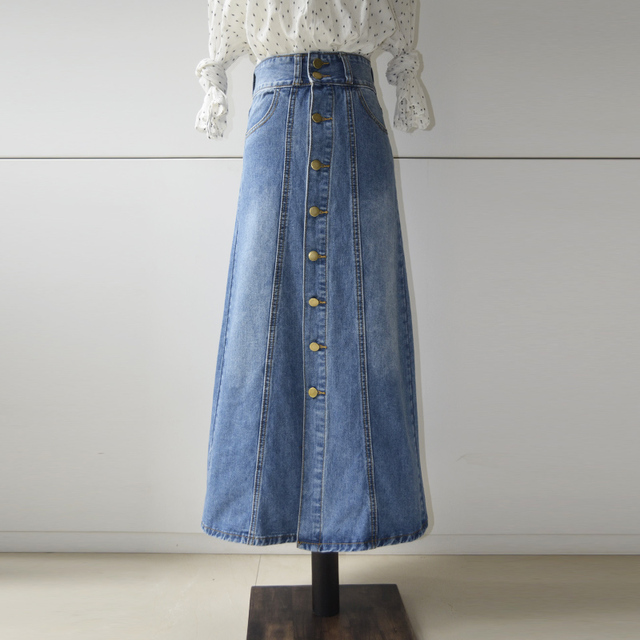 3153f0b581c0e Free Shipping 2019 New Fashion Long Maxi Denim Jeans Skirt Spring And  Autumn A line Skirts Single Breasted S 2XL Casual