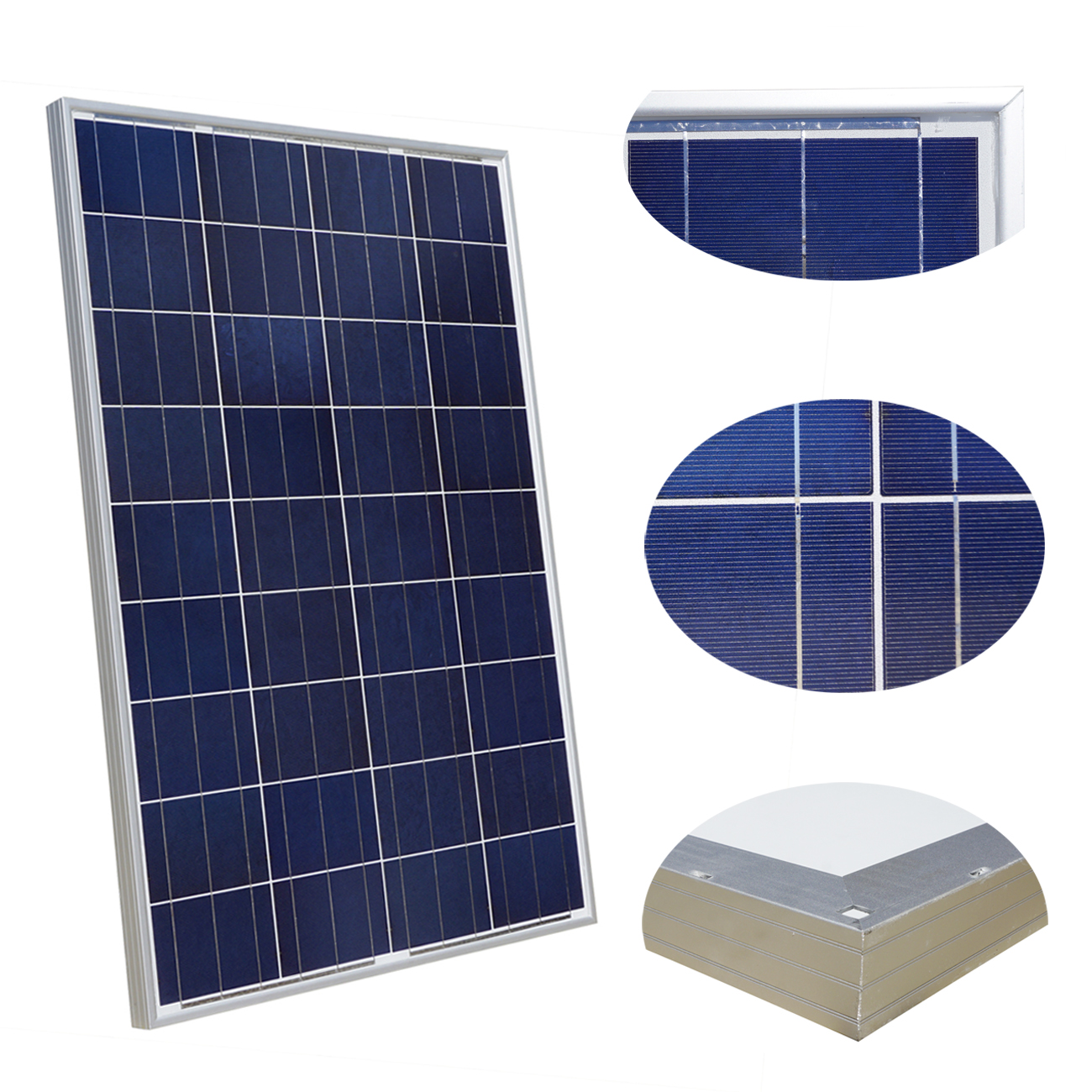 100W 18V Polycrystalline Solar Panel for 12v Battery Off Grid System Solar for Home System