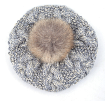 2018 Winter Raccoon fur pompom beret ladies knit wool hat hand-knitted cap female berets hats for women boina feminina Gorras 2